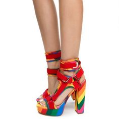 New Liliana GLAMROCK. - Rainbow Multicolor with Red Stretch Neoprene. Rainbow Outfit, Professional Dresses, Ankle Strap Heels, Ankle Straps, Dress And Heels, Womens High Heels, Chunky Heels, Dress Outfits