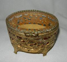 Vintage 24 kt Gold Filigree Beveled Glass Jewelry Box