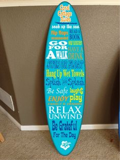 """wall hanging surf board Pool Rules sign surfboard decor hawaiian beach surfing beach decor. You are bidding on a custom made themed surfboard decor... It is made of high quality 1/2"""" plywood painted and vinyl graphiced. I put 2 coats of gloss clear coat to give it a beautiful shine to it... Pick a name or saying to go on the board. This name can be changed to anything.. for custom work please contact me let me know what you want and i can list it and send you the link. I also send you a..."""