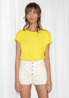& Other Stories image 1 of Crew-Neck T-Shirt in Yellow