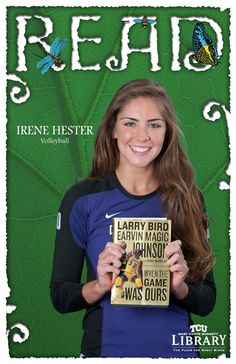 Volleyball player Irene Hester and her favorite book.