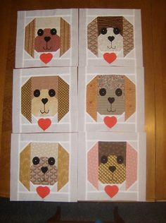 This listing is for 12 - 12 Puppy Dog Quilt Blocks. This is for the blocks only....not a completed quilt. The blocks are pieced together,