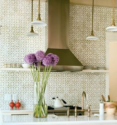 brass lights, geometric tile, personality