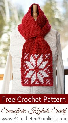 Free Crochet Pattern - Snowflake Keyhole Scarf by A Crocheted Simplicity