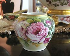 Measures 4 inches high and 5 inches wide. In perfect condition. No chips, cr China Painting, Mural Painting, Roses Vase, Shabby Chic Painting, Limoges China, Antique Glassware, Colorful Roses, Rose Tea, Types Of Flowers