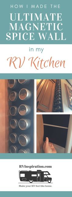 RV kitchen organization: basket hanging over cabinet door, spice tins sticking to magnetic wall rvstorage Spice Organization, Camping Organization, Trailer Organization, Spice Storage, Rv Storage, Storage Ideas, Camping Car, Camping Hacks, Camping Ideas