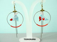 boucles d'oreille créole origami cocotte, perles rouges et pendants de la boutique TIGRORAMA sur Etsy