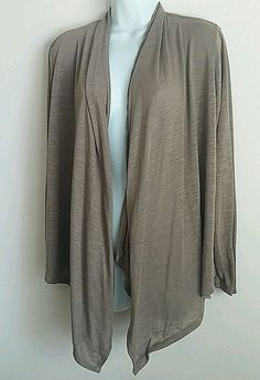 TAUPE BROWN LONG SLEEVE OPEN FRONT CARDIGAN KNIT TOP SWEATER  LARGE #LYSSLOO #Cardigan