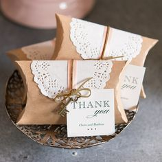 Kraft Favor Box with Lace Wrapper - Shop on WeddingWire! Vintage Wedding Suits, Vintage Wedding Favors, Wedding Shower Favors, Beach Wedding Favors, Wedding Favor Boxes, Unique Wedding Favors, Diy Wedding, Rustic Wedding, Wedding Gifts