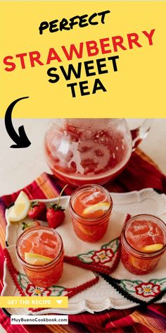 This delightful drink is basically equal parts strawberry agua fresca and southern sweet tea. Strawberry Fruit, Frozen Strawberries, Bueno Recipes, Good Food, Yummy Food, Delicious Recipes, Recetas Salvadorenas, Southern Sweet Tea, Latin Food