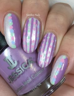 ehmkay nails: Whimsical Dots and Stripes with Jessica Cosmetics Polished in Pastels + Tutorial