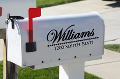 """need some curb appeal? try these stylish mailbox decals. ---> Or a large cursive monogram style """"F""""with the address so the last name isn't on the mailbox. Mailbox Numbers, House Numbers, Vinyl Wall Art, Vinyl Decals, Vinyl Board, Wall Sticker, Vinyl Projects, Home Projects, Weekend Projects"""