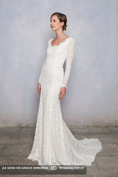 luisa beccaria long sleeve lace wedding dress