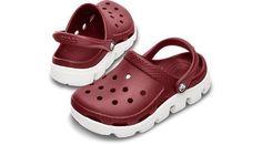 Crocs - Duet Sport Clog Kids Unisex Footwear, Size: 4-5 M US Toddler, Color: Burgundy/White crocs. $35.00