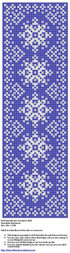 Snowflake bookmark. Free sewing pattern graph for cross stitch or plastic canvas.