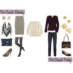 """""""Two Ways: Ivory Chiffon Blouse"""" by caphillstyle on Polyvore"""