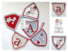 handmade bunting red and blue crochet