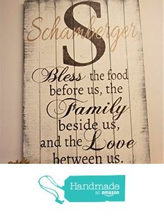 Bless The Food Sign Kitchen Wall Decor Dining Room Family Name From Rusticly