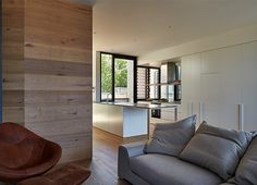 White Smoked American Oak on floor and walls. Timmins + Whyte Architects Little B Project. Photography by Peter Benetts.  www.royaloakfloors.com.au