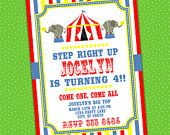 CIRCUS CARNIVAL  Party Invitation Printable, printed also available