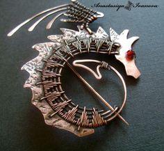 "Brooch | Anastasiya Ivanova. ""Dragon"". Copper, etching, patina, beads"