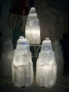 "Selenite Crystal Tower Electric Lamp, X Large. Spiritual Activation & Communion Purifying Gypsum 8.5"" x 12.5"". via Etsy."