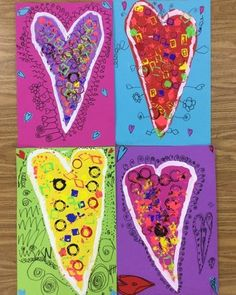 """Stamp printing gadgets with tempera paint was the first step in creating these joyous valentines. The next step was cutting them out, gluing to a background, and adding lines to represent the """"lov Valentines Art Lessons, Valentine Activities, Valentine Day Crafts, Winter Activities, Art Activities, Fall Art Projects, Classroom Art Projects, Elementary Art Rooms, Art Lessons Elementary"""