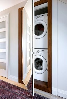 """20 Stylish And Hidden Laundry Room Designs - Determine even more information on. 20 Stylish And Hidden Laundry Room Designs – Determine even more information on """"laundry room Hidden Laundry Rooms, Laundry Closet, Laundry Room Organization, Laundry Room Design, Laundry In Bathroom, Diy Organization, Bathroom Storage, Laundry In Kitchen, Laundry Box"""