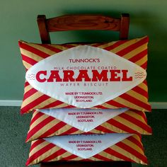 Finally: a cushion inspired by everyone's favourite wafery treat: The Caramel Wafer biscuit! First dreamt up by Mr Tunnock in Uddingston Scotland in the early this teatime treat is a nostalgic favourite for boys & girls as well as ladies a.