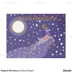 Magical Christmas Fleece Blanket #christmas #holidays #reindeer #moon #stars