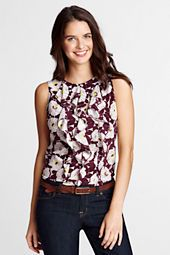 Women's Clothing | Lands' End Women's Sleeveless Silk Ruffle Front Blouse from Lands' End Love the layered ruffles with the fall color mix. Great top for layering under a corduroy jewel tone jacket