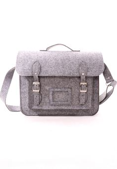 Felt Old School Satchel in Grey - Goods - Retro, Indie and Unique Fashion