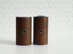 Vintage cylindrical teak salt and pepper shakers