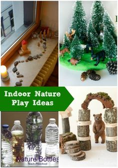 I love these rustic ideas on bringing nature inside for play!