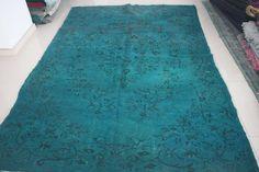 Nomadic Rug Overdyed Rug Turquoise Rug by AnatolianSpindle on Etsy