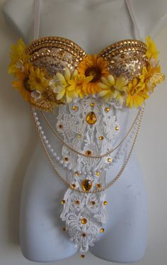 Summer Gold Rave bra Gold Sequin Rhinestones by SugarRoxCouture, $65.00