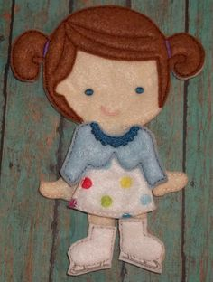 """Ice Skating Dress Up Outfit with skatesfrom my """"Unpaper Felt Dolls Share"""" collection Listing for doll clothes outfit only fits girls by cabincraftycreations on Etsy"""