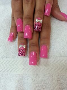 Acrylic nails with gel color and 3 D designs
