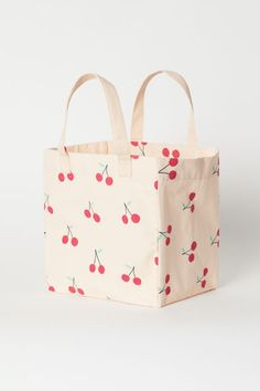 Cotton beach bag - Powder pink/Cherries - Home All Sacs Design, Fabric Bags, Fabric Basket, Powder Pink, Cotton Bag, Cloth Bags, Bag Storage, Shopping Bag, Purses And Bags