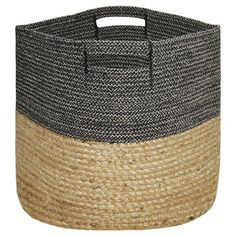 Large Round Woven Storage Basket - Dark Grey