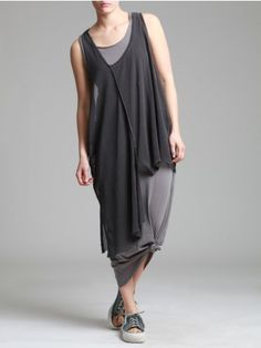 AGED COTTON MAXI T-SHIRT WITH MESH FABRIC