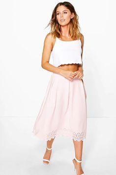 Yasmine Crepe Lazer Cut Full Midi Skirt at boohoo.com