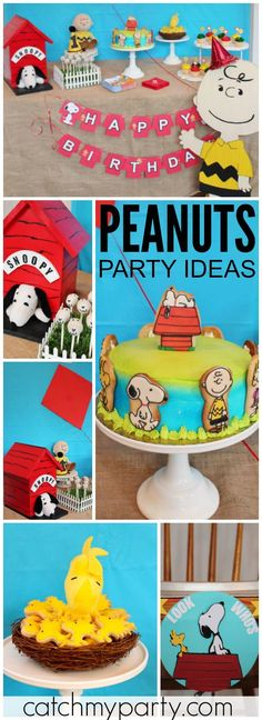 Come and check out this fun Peanuts birthday party! See more party ideas at CatchMyParty.com!