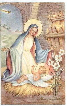 Madonna con Gesù bambino Buon Natale Virgin Mary w Jesus PC Circa 1930