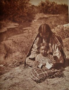 Arapaho Indian mother and daughter taken in 1910