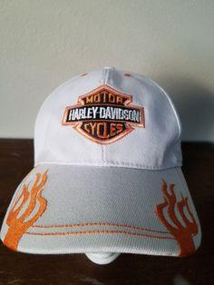 b761c6117dd Harley-Davidson Men s White Orange Embroidered Baseball golf Cap  fashion   clothing