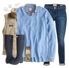 """Gingham Days of Blues"" by southernstylish ❤ liked on Polyvore featuring moda, Frame Denim, J.Crew, Patagonia, Hunter y Essie"