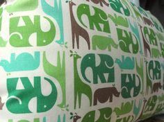 Modern Zoo Pillow bu pickfair: Fabric from Eleanor Grosch's Zoo Menagerie. $15 #Pillow #Zoo #Eleanor_Grosch