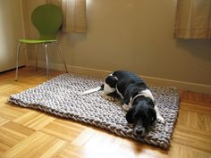 Giant knit rope rug 48 by 36 inches by marymarieknits on Etsy