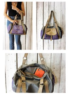 "Handmade Italian vintage gray and purple Leather  Bag ""bauletto Bicolor"" di LaSellerieLimited su Etsy"